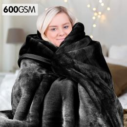 Laura Hill 600GSM Double-Sided Black Queen Size Faux Mink Blanket