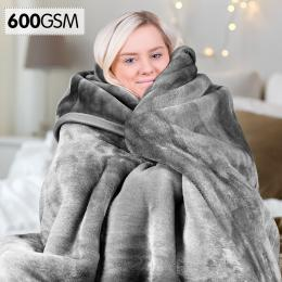 600GSM Double-Sided Queen Size Faux Mink Blanket - Silver