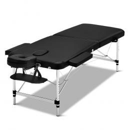 Zenses 70cm Portable Aluminium Massage Table Two Fold Treatment Black