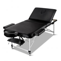 Zenses 70cm Wide Portable Aluminium Massage Table forTreatment Black