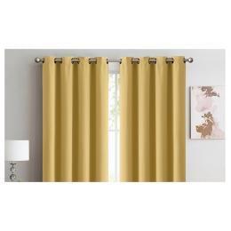 2x 100% Blockout Curtains Panels 3 Layers Eyelet Mustard 180x230cm