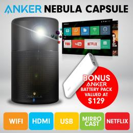 Nebula Capsule Smart Mini Projector Anker Battery Pack - Black