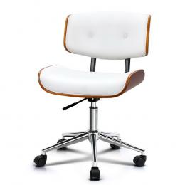 Executive Wooden Office Chair Leather  Chairs Seat Bentwood White