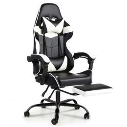 Gaming Office Chairs Computer Seating Racing Recliner Black White