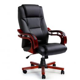 Executive Wooden Office Chair Wood  Leather Seat Sherman