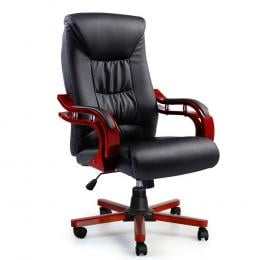 Executive Wooden Office Chair Wood Leather Seat Sheridan