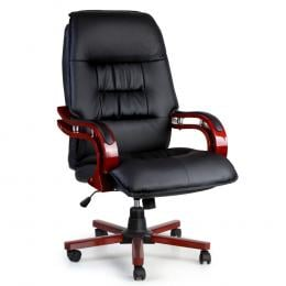 Executive Wooden Office Chair Wood Computer Chairs Leather Seat Sierra