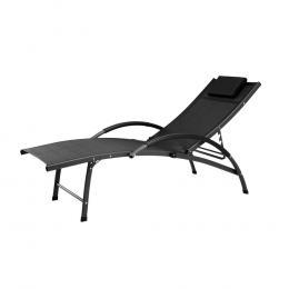 Outdoor Sun Lounge Beach Chair  Recliner Garden Patio Furniture Black