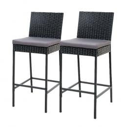 2x Outdoor Bar Stools Dining Chairs Rattan Furniture