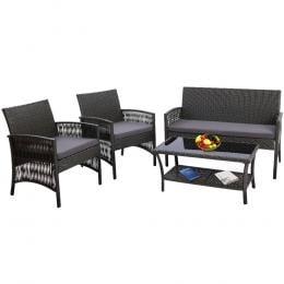 Outdoor Furniture Rattan Set Wicker Cushion 4pc Dark Grey