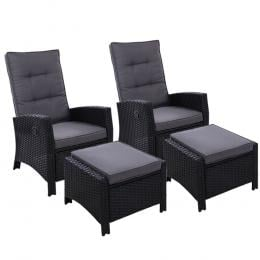 2PC Sun lounge Recliner Chair Wicker Lounger Sofa Day Bed Outdoor