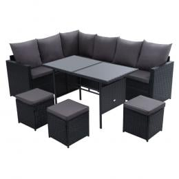 Outdoor Furniture Dining Setting Sofa Set Lounge Wicker 9 Seater Black