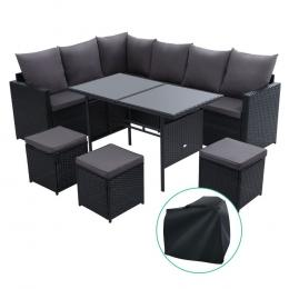 9 Seater Outdoor Furniture Sofa Set Dining Wicker Storage Cover Black