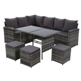 Outdoor Furniture Sofa Set Dining Setting Wicker 9 Seater Mixed Grey