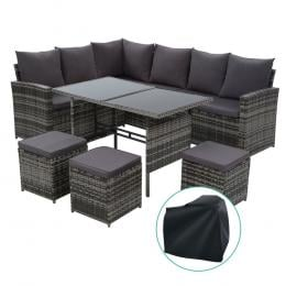 Outdoor Furniture Sofa Set Dining Wicker 9 Seater w/  Cover Mixed Grey