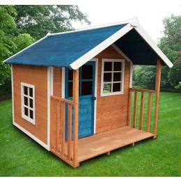 Kids Outdoor Wooden Playhouse 172x140x136cm W/blue Roof 3ctn