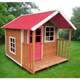 Kids Outdoor Wooden Playhouse 172x140x136cm W/pink Roof 3ctn