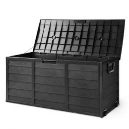 290L Outdoor Storage Box Lockable Weatherproof Garden Deck Shed BLACK