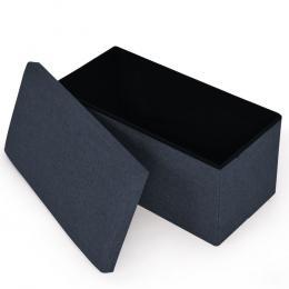 Folding Storage Tufted Ottoman Box Charcoal