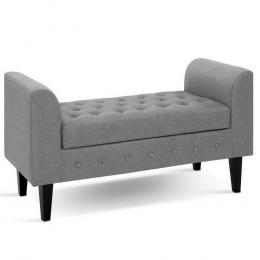 Storage Ottoman w/ Arms Linen Bed Foot Stool Chest Bench - Grey