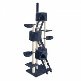 Multi Level Cat Scratching Poles Tree with Ladder Grey