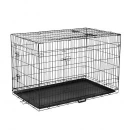 48inch Foldable Portable Pet Dog Steel Cage - Black