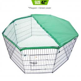 """8 Panel Foldable Pet Playpen 42"""" w/ Cover - GREEN"""