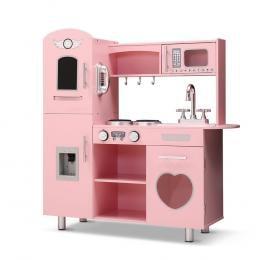 Kids Kitchen Set Pretend Play Food Sets Childrens Wooden Toy Pink
