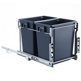 2x15L Pull Out Bin Door Mount Kitchen Rubbish Bin Grey