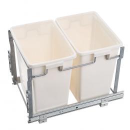 2x15L Pull Out Bin Door Mount Kitchen Rubbish Bin White