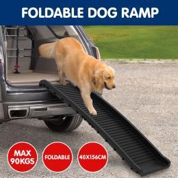 Foldable Car Dog Ramp Vehicle Ladder Step Stairs - Black