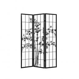 3 Panel Room Divider Screen Privacy Dividers  Bamboo Black White