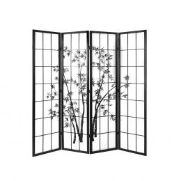 4 Panel Room Divider Screen  Dividers Pine Wood Stand   Black White