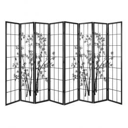 8 Panel Room Divider Screen Dividers  Stand Shoji Bamboo Black White