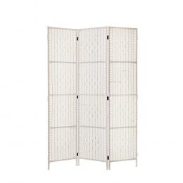 3 Panels Room Divider Screen Rattan Timber Fold Woven Stand White