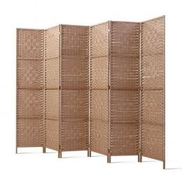 6 Panel Room Divider Screen  Rattan Timber Foldable  Stand Hand Woven