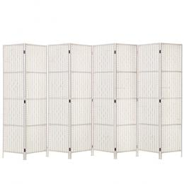 8 Panels Room Divider  Privacy Rattan Timber Fold Woven Stand White
