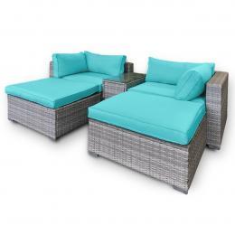 Rattan Outdoor 5pc Corner Chairs Ottoman Furniture Set - Aqua Cushions