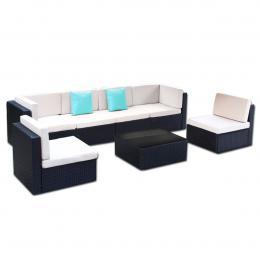 7pc Black PE Rattan Outdoor Dining Furniture Garden Patio Set Black