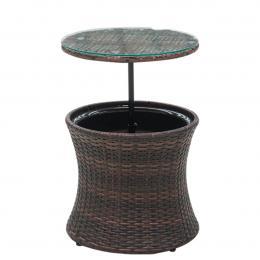 Rattan Outdoor Cooler Table Mini Bar Coffee Ice Cool - Black