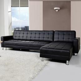 Corner Faux Leather Sofa Bed Couch with Chaise - Black