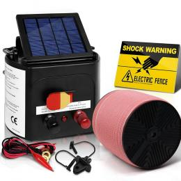 Electric Fence Energiser 3km Solar Powered Charger Set + 2000m Tape