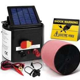Electric Fence Energiser 5km Solar Power Charger Set + 2000m Tape