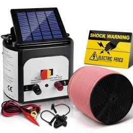 Electric Fence Energiser 8km Set Solar Powered Energizer + 2000m Tape