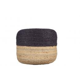Ava Dual Color Jute Pouf NAT/ Blue