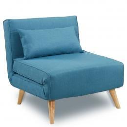 Sarantino Adjustable Corner Sofa 1 Seater Lounge Linen Bed Seat - Blue