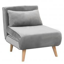 Sarantino Adjustable Corner Sofa Bed Lounge Faux Velvet Light Grey