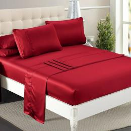 Dreamz Ultra Soft Silky Satin Bed Sheet Set Queen Size Burgundy