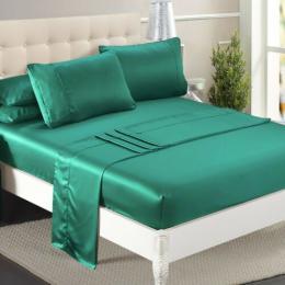 Dreamz Ultra Soft Silky Satin Bed Sheet Set Queen Size Teal