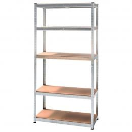 5 Shelf Adjustable Storage Rack Work Table Galvanized Steel 180x90cm